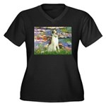 Borzoi in Monet's Lilies Women's Plus Size V-Neck