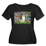 Borzoi in Monet's Lilies Women's Plus Size Scoop N