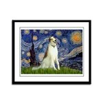 Starry Night & Borzoi Framed Panel Print