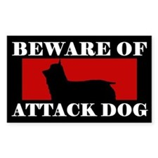 Beware of Attack Dog Silky Terrier Decal