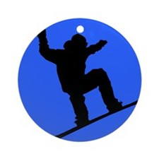 Blue Snowboarder Ornament (Round)