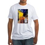 Cafe with Coton de Tulear Fitted T-Shirt
