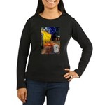 Cafe with Coton de Tulear Women's Long Sleeve Dark