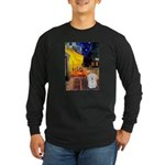 Cafe with Coton de Tulear Long Sleeve Dark T-Shirt