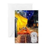 Cafe with Coton de Tulear Greeting Card