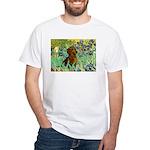 Irises & Dachshund White T-Shirt
