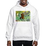 Irises & Dachshund Hooded Sweatshirt