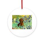 Irises & Dachshund Ornament (Round)