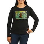 Irises & Dachshund Women's Long Sleeve Dark T-Shir