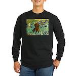 Irises & Dachshund Long Sleeve Dark T-Shirt