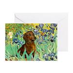 Irises & Dachshund Greeting Cards (Pk of 20)