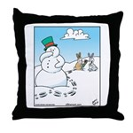 Snowman's Carrot Nose Throw Pillow