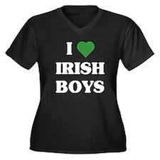 I Love Irish Boys Women's Plus Size V-Neck Dark T-