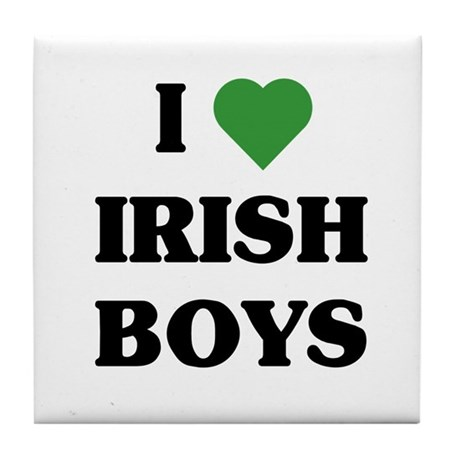I Love Irish Boys Tile Coaster