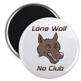 Snarling Lone Wolf No Club Magnet
