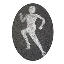 Runner on Road Oval Ornament