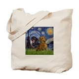 Starry Night Doxie Pair Tote Bag