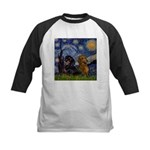 Starry Night Doxie Pair Kids Baseball Jersey
