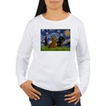 Starry Night Doxie Pair Women's Long Sleeve T-Shir