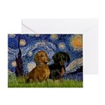 Starry Night Doxie Pair Greeting Card