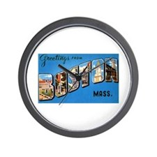 Boston Massachusetts Greetings Wall Clock