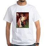 Seated Angel & Dobie White T-Shirt