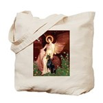 Seated Angel & Dobie Tote Bag