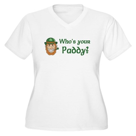 Who's Your Paddy Women's Plus Size V-Neck T-Shirt