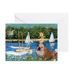Sailboats /English Bulldog Greeting Cards (Pk of 1