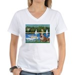Sailboats /English Bulldog Women's V-Neck T-Shirt