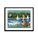 Sailboats /English Bulldog Framed Panel Print