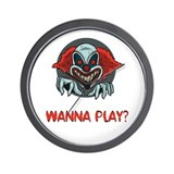 "Evil Clow ""Wanna Play"" Wall Clock"
