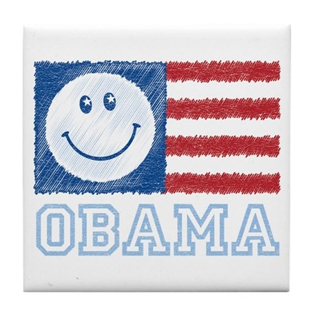 Obama Smiley Flag Tile Coaster