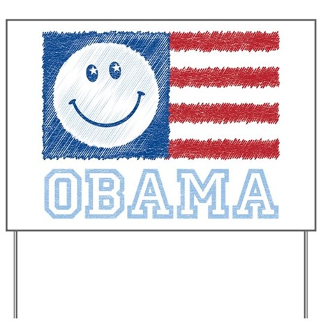 Obama Smiley Flag Yard Sign
