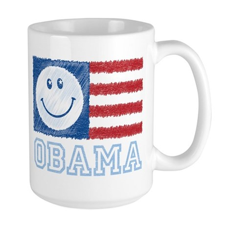 Obama Smiley Flag Large Mug