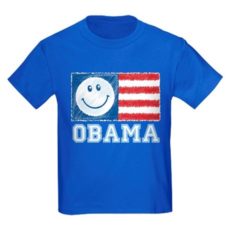 Obama Smiley Flag Kids Dark T-Shirt
