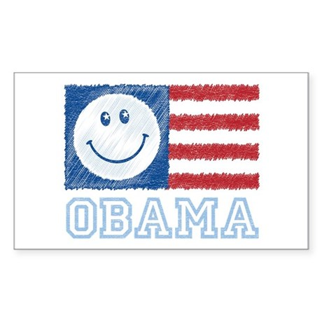 Obama Smiley Flag Rectangle Sticker