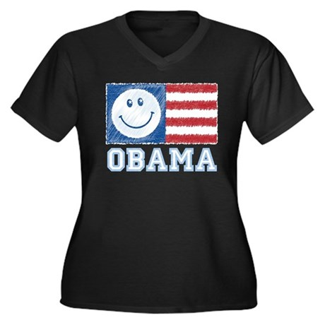 Obama Smiley Flag Women's Plus Size V-Neck Dark T-