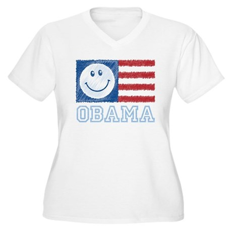Obama Smiley Flag Women's Plus Size V-Neck T-Shirt