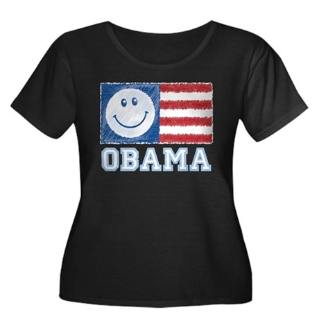 Obama Smiley Flag Women's Plus Size Scoop Neck Dar