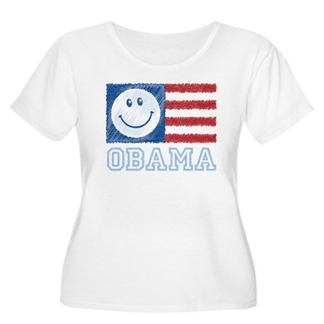 Obama Smiley Flag Women's Plus Size Scoop Neck T-S