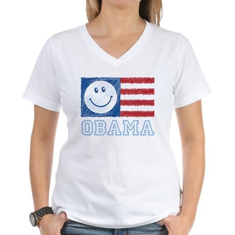 Obama Smiley Flag Women's V-Neck T-Shirt