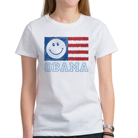 Obama Smiley Flag Women's T-Shirt