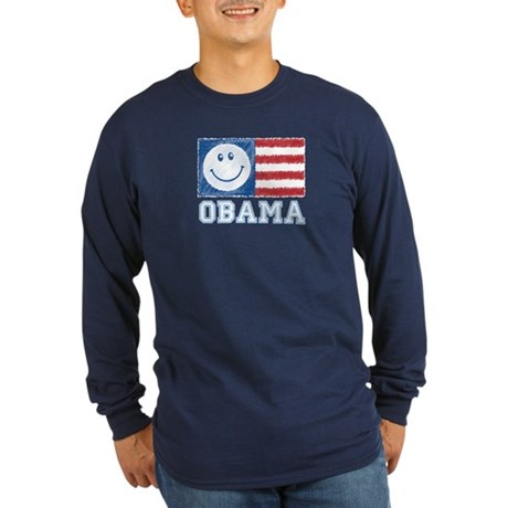 Obama Smiley Flag Long Sleeve Dark T-Shirt