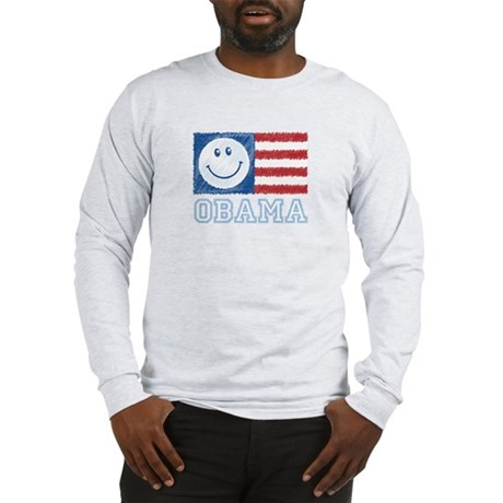 Obama Smiley Flag Long Sleeve T-Shirt