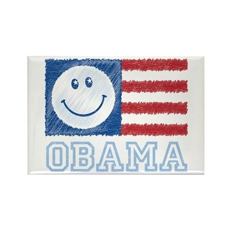 Obama Smiley Flag Rectangle Magnet