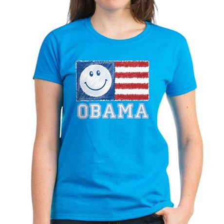 Obama Smiley Flag Women's Dark T-Shirt
