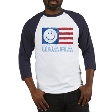 Obama Smiley Flag Baseball Jersey