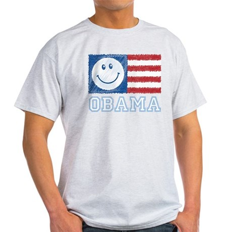 Obama Smiley Flag Light T-Shirt