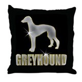 Bling Greyhound Throw Pillow